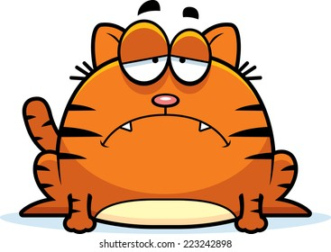 A cartoon illustration of a cat looking depressed.