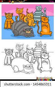 Cartoon Illustration of Cats and Kittens Animal Characters Coloring Book Activity