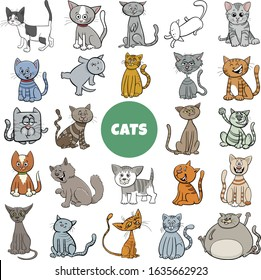 Cartoon Illustration of Cats and Kittens Animal Characters Large Set