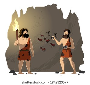 Cartoon illustration of cavemen drawing cave paintings.