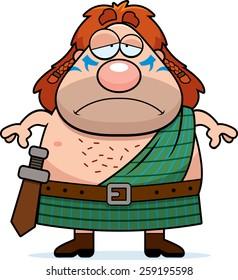 A cartoon illustration of a Celtic warrior looking sad.