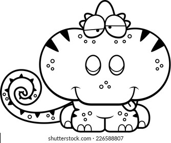 A cartoon illustration of a chameleon with a goofy expression.