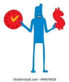 Cartoon illustration of character saving time and money icons
