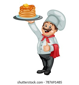 Cartoon Illustration of a Cheerful Chef. Cook Showing Ok Sign and Holding a Tray with Hot Pancakes with Honey and Butter
