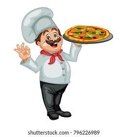 Cartoon Illustration of a Cheerful Chef. Cook Showing Ok Sign and Holding a Tray with Pizza
