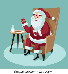 Cartoon illustration of cheerful Santa Claus sitting in a wing chair and eating his Christmas cookies and milk. Eps10 vector in contemporary flat style.