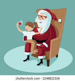 Cartoon illustration of cheerful Santa Claus sitting in a wing chair with a little girl on his lap taking a selfie. Eps10 vector in contemporary flat style.