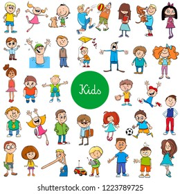 Cartoon Illustration of Children and Teenagers Characters Large Set