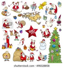 Cartoon Illustration of Christmas Themes and Design Elements Set