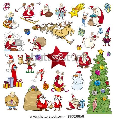 cartoon illustration of christmas themes and design elements set - Christmas Themes Free