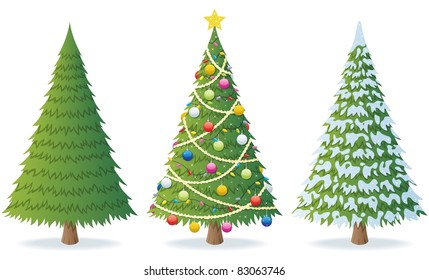 Cartoon Illustration Of Christmas Tree In 3 Different Situations