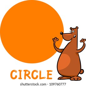 Cartoon Illustration of Circle Basic Geometric Shape with Funny Bear Character for Children Education