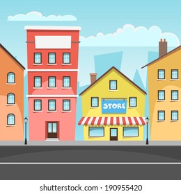 Cartoon illustration of the city with store.