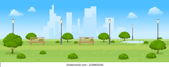 Cartoon illustration of city summer park with green trees bench, walkway and lantern.