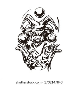Cartoon Illustration Clown Face Vector playing with small balls for car stickers, tattoos