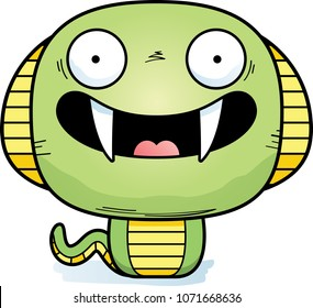 A cartoon illustration of a cobra smiling.