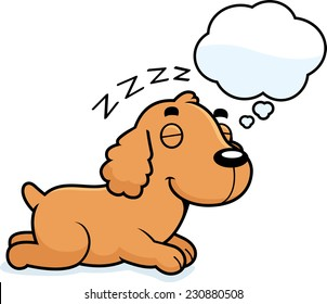 A cartoon illustration of a Cocker Spaniel sleeping and dreaming.