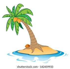 Cartoon illustration of a coconut tree on a small empty island
