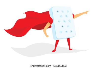 Cartoon illustration of comfortable mattress hero saving the day