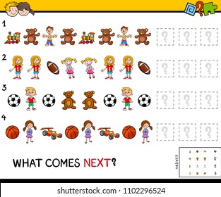 Cartoon Illustration of Completing the Pattern Educational Game for Preschool Children with Children and Toys
