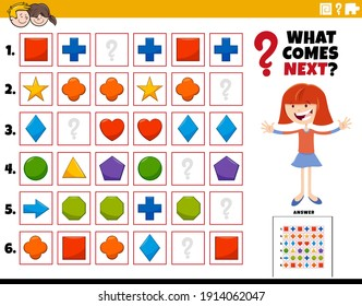 Cartoon illustration of completing the pattern in the rows educational activity for children