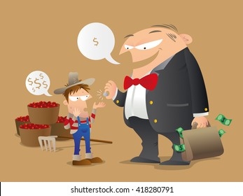 Cartoon illustration of concept of unfair trade. A hard-working coffee grower gets a tiny amount of return from a greedy big buyer.