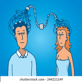 Cartoon illustration of connection between man and woman brains