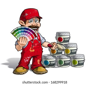 Cartoon Illustration of a construction worker / handyman painter in red uniform, holding a color index and showing paint buckets of various colors.