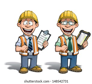 Cartoon illustration of a construction worker supervisor checking a project list.  Two versions: 1) on with a pen on a traditional pad and 2) on a tablet more hip with glasses.