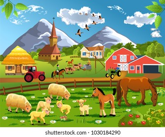 Cartoon illustration of countryside with village, farm animals and barn in a rural landscape
