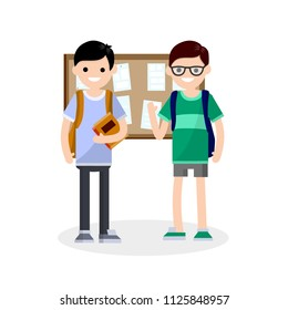 Cartoon illustration - a couple of friends in College are standing around the Bulletin Board and talking. men with backpacks at school. book in hand. the guy's a nerd at learning.