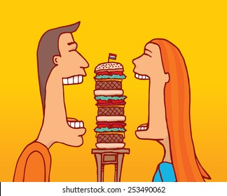 Cartoon illustration of couple sharing a huge hamburger with huge mouth