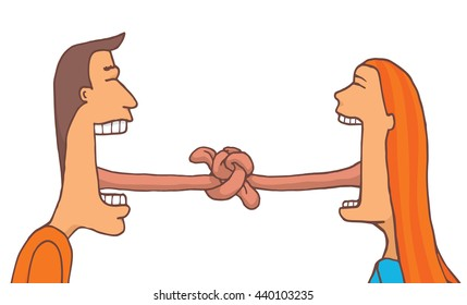 Cartoon illustration of couple talking with tangled tongues