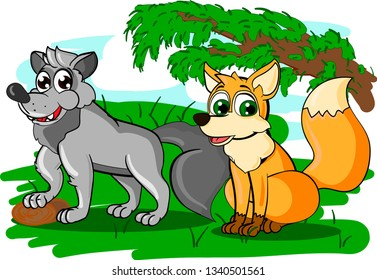 Cartoon illustration of couple of wolf with sharp teeth and sly fox on the grass in forest.