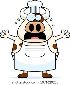 A cartoon illustration of a cow chef looking scared.