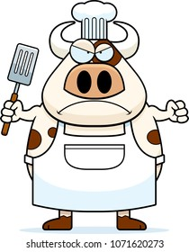 A cartoon illustration of a cow chef looking angry.