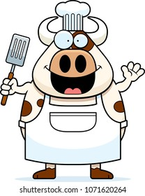 A cartoon illustration of a cow chef waving.