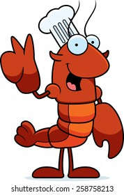 A cartoon illustration of a crawfish chef giving the peace sign.