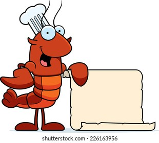 A cartoon illustration of a crawfish chef with a paper recipe.