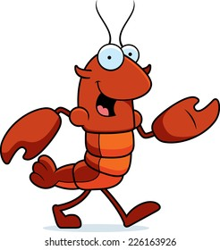 A cartoon illustration of a crawfish walking.