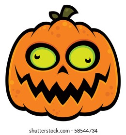 Cartoon illustration of a crazy pumpkin jack-o-lantern with green eyes. Great for Halloween.