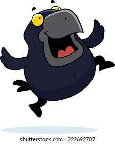 A cartoon illustration of a crow jumping and smiling.