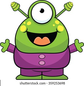 Cartoon illustration of a cute alien with a happy expression.