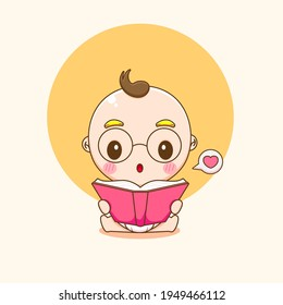 Cartoon illustration of cute baby boy character reading a book