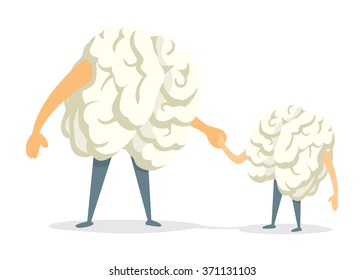 Cartoon illustration of cute brain father and son holding hands
