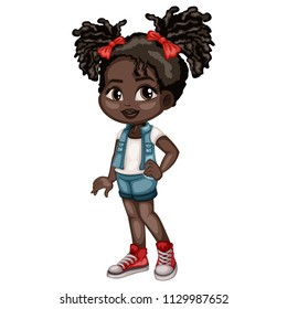 Cartoon Illustration of a Cute Cheerful  African American Girl Wearing  Shorts and Sport Shoes. Little Kid Cartoon. Happy Female Character Isolated on White Background