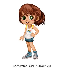 Cartoon Illustration of a Cute Cheerful Girl Wearing Shorts and Sport Shoes. Little Kid Cartoon. Happy Female Character  Isolated on White Background