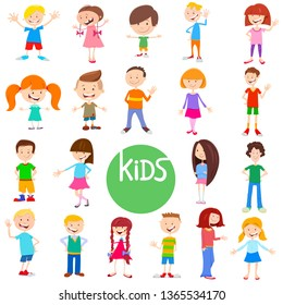 Cartoon Illustration of Cute Children and Teens Characters Large Set