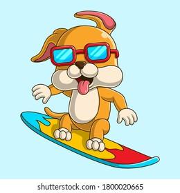 Cartoon illustration of a cute dog surfing