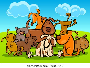 Cartoon Illustration of Cute Dogs or Puppies Group Against Blue Sky